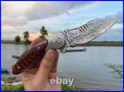 Japanese 73 Layers Vg10 Damascus Folding Knife Army Rescue Snakewood With Sheath