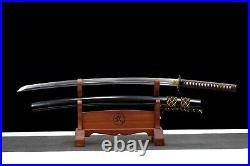 Japanese Samurai Sword Katana Damascus Folded Steel Clay Tempered Blade Knives