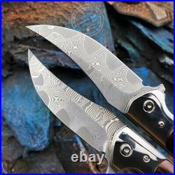Japanese Vg10 Damascus Hunting Knife Folding Camping Pocket Ball Bearing Sheath