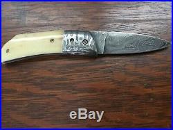 Jody Muller Custom Damascus William Henry Style Folder Folding Knife