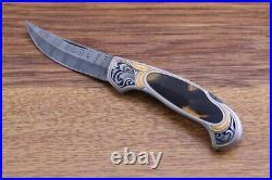 Joe Kious Handmade Lock Back Damascus Folding Knife. Julie Warenski Engraving
