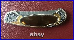 Joe Kious and Julie Warenski Engraved Damascus Solid Gold Lockback Folding Knife