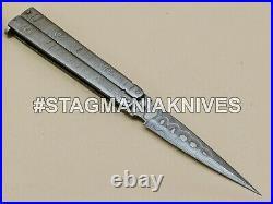 John Henry HAND FORGED DAMASCUS STEEL DAGGER HUNTING POCKET FOLDING KNIFE