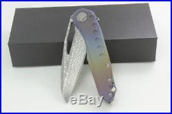 K0049 Customed Sigil Damascus Blade TC4 Buring Titanium Handle EDC Folding Knife