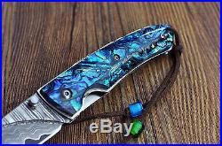 KUBEY Damascus Gentleman s Folding Pocket Knife Abalone Handle with Leather