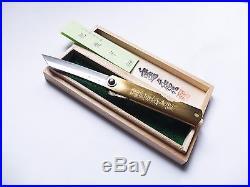 Kanekoma Higonokami Bamboo Leaves Nagao Blue Steel Damascus Folding Knife Box