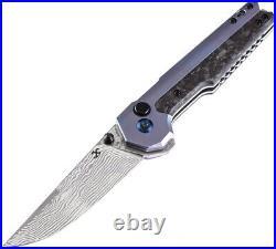 Kansept Knives EDC Tac Button Lock Titanium/CF Folding Damascus Knife