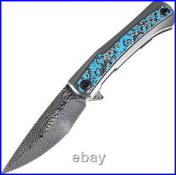 Kansept Knives Kratos Framelock Blue/Black Folding Damascus Pocket Knife 1024A4