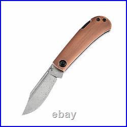 Kansept Wedge Folding Knife Red Copper Handle Damascus Plain Edge T2026BC1