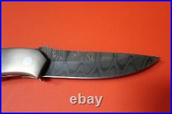 Keith Coleman Los Lunas New Mexico Custom Damascus + STAG Folding Knife -S