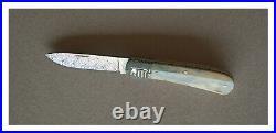 Ken Steigerwalt Handcrafted Slip Joint Folding Knife, Ancient Walrus, Damascus
