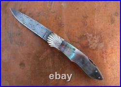Ken Steigerwalt Handmade Lock Back Damascus Folding Knife. Sculpted Bolster