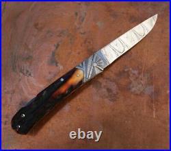 Ken Steigerwalt Handmade Lock Back Folding Knife. Sculpted Damascus Bolster