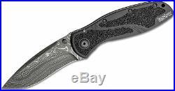 Kershaw 1670blkdam Blur Black Damascus Steel Assisted Liner Lock Folding Knife