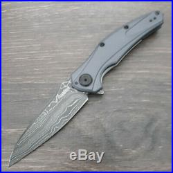Kershaw Bareknuck Folding Knife 3.5 Damascus Steel Blade Gray Aluminum Handle