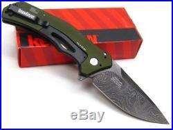 Kershaw Green Knockout Straight Assisted Damascus Folding Pocket Knife 1870OLDAM