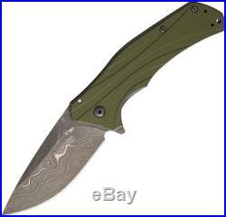 Kershaw Knockout A/O Damascus Steel Blade Olive Green Folding Knife 1870OLDAM