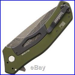 Kershaw Knockout Folding Knife 3.5 Damascus Steel Blade Green Aluminum Handle
