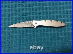 Kershaw Leek KS1660DAM Damascus Steel Blade Folding Knife Silver Frame Retired