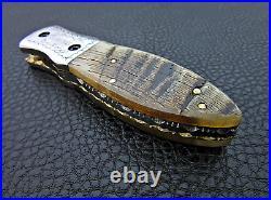 Knife Sale Folding Sale Sheep Horn Handle Damascus Steel Folding Knife Sale
