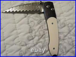 Knife folding William Henry button lock DAMASCUS Damascus blade #1 of 25