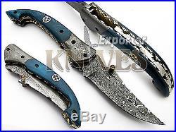 Knives Exporter New Damascus Custom made Bushcraft Folding Knife, Bone Handle