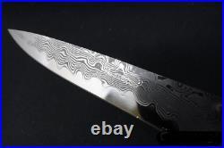 Koji Hara Custom Super Gold Damascus Folding knife VG-10 damascus handle
