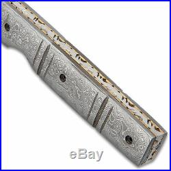 Kriegar Handmade Damascus EDC Tanto Folding Pocket Knife with Leather Sheath