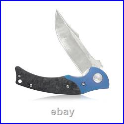 Kubey DM902 Damascus Folding Knife Outdoor Hiking Camping Knife with Ti-CF Handle