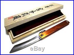L 175mm Miyamoto musashi Higo Knife Japanese Folding knife Damascus Copper
