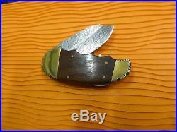 Large Custom Elephant Toe Damascus Folding Knife Lock Back Rare Pattern