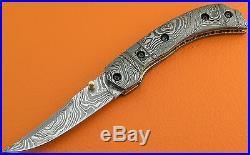 Large Full Damascus Steel Handle Folding Pocket Knife Liner Lock FS296Z-2