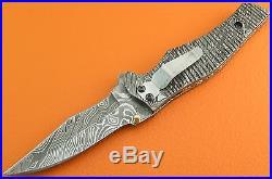 Large Full Damascus Steel Liner Lock Left Hand Belt Clip Folding Knife FS307Z-1