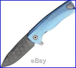 LionSTEEL ROK Flipper Folding Knife 3.25 Damascus Blade Blue Titanium Handle