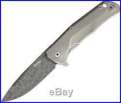 LionSTEEL TRE Damascus Fade Framelock Titanium Folding Pocket Knife TREDFGY