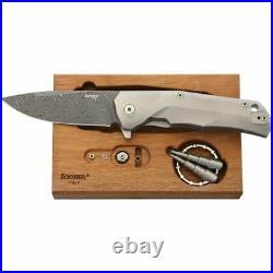 LionSTEEL TRE Folding Knife 3 Damascus Steel Blade Matte Finish Titanium Handle