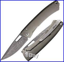 LionSTEEL TiSpine Framelock Folding Knife 3.25 Damascus Blade Titanium Handle