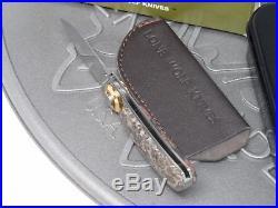 Lone Wolf Knives Paul Pocket Folding Knife Leopard Stone Damascus Pre-Benchmade