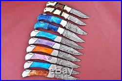 Lot Of 10 Handmade Damascus Folding Knife With Color Bone+Bone Handle W. 2836
