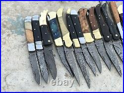 Lot Of 50 custom handcrafted damascus steel Folding knives For Retailers