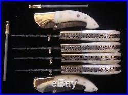 Lot Of 6 Custom Hand Made Damascus Steel Pocket/folding Knife With Leather Sheat