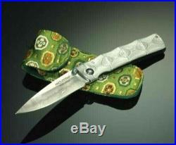 MCUSTA Paten Bamboo Folding Knife Beautiful Damascus Steel Made in Japan F/S New