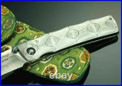MCUSTA Paten Bamboo Folding Knife Beautiful Damascus Steel Made in Japan withTrack