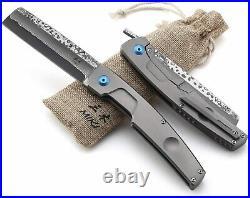 MIKI Handmade Damascus Steel Japanese Razor Pocket Folding Knife