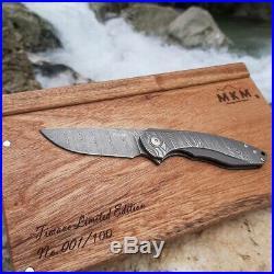 MKM Arvenis Timavo Linerlock Folding Knife 3 Damasteel Blade Damascus/Titanium