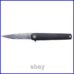 MKM Flame Folding Knife BLK CF Handle Damascus Drop Point Blade MKMFL01-D