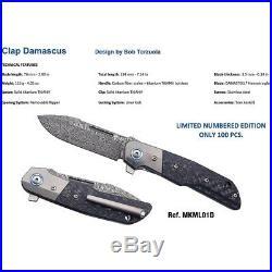 MKM-Maniago Knife Makers Clap Folding Knife 3 Damascus Steel Blade Carbon Fiber