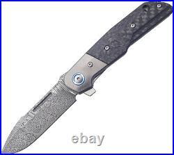 MKM-Maniago Knife Makers Clap Linerlock Carbon Fiber Folding Damascus Knife L01D