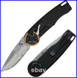 Mantis Gearhead Linerlock Folding Knife Damascus Steel Blade Aluminum Handle