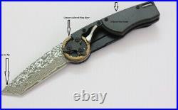 Mantis Gearhead Linerlock Folding Knife Damascus Steel Blade Carbon Fiber Handle